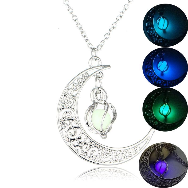 Hot Sale Moon Luminous Fashion Luminous Pendant Necklace Wholesale NHAN243326