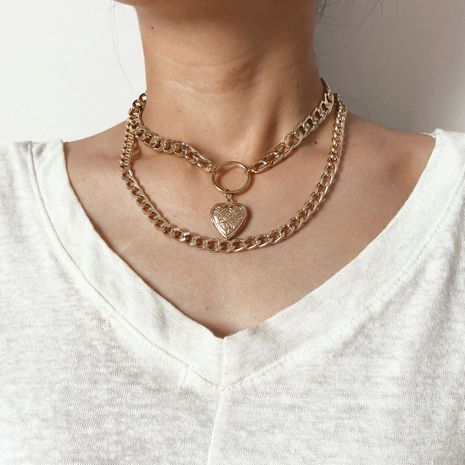 New retro Love-shaped Alloy Double Clavicle Chain alloy Pendant Necklace  NHPJ243337's discount tags