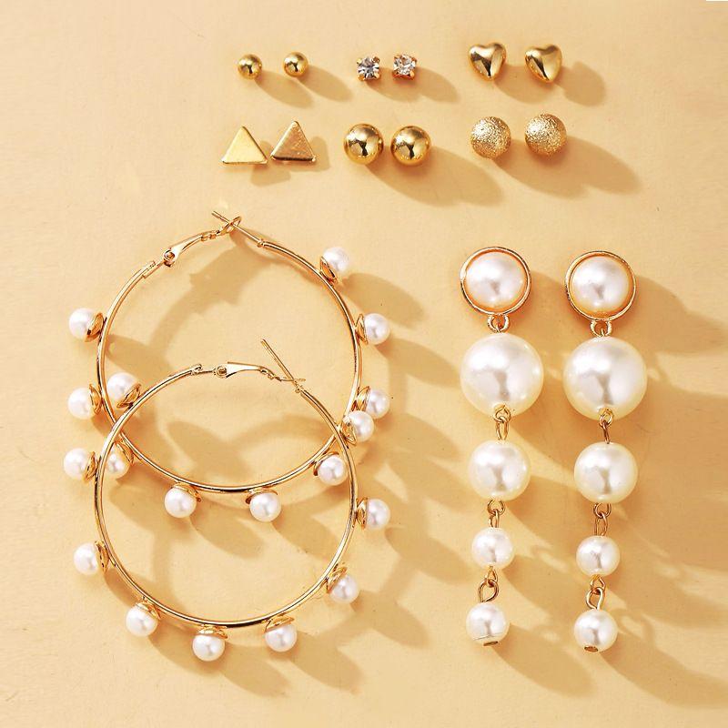 new pearl  creative retro simple earrings set wholesale nihaojewelry NHPJ243338