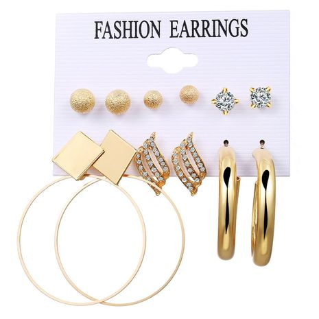 new fashion retro style  round beads diamond earrings set  wholesale nihaojewelry NHPJ243339's discount tags