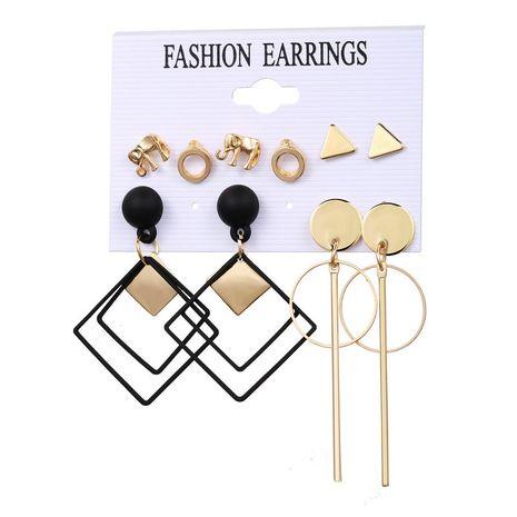 new elephant diamond ring earrings set 5 pairs of creative retro simple alloy earrings wholesale nihaojewelry NHPJ243341's discount tags