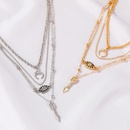 new tassel multilayer hiphop style fashion long moon demon eye alloy necklace for women NHMO243342