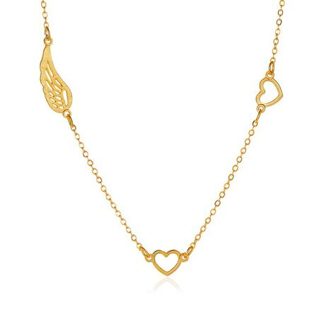 new simple love wings clavicle chain 8 word hollow leaf alloy necklace chain children NHMO243343's discount tags