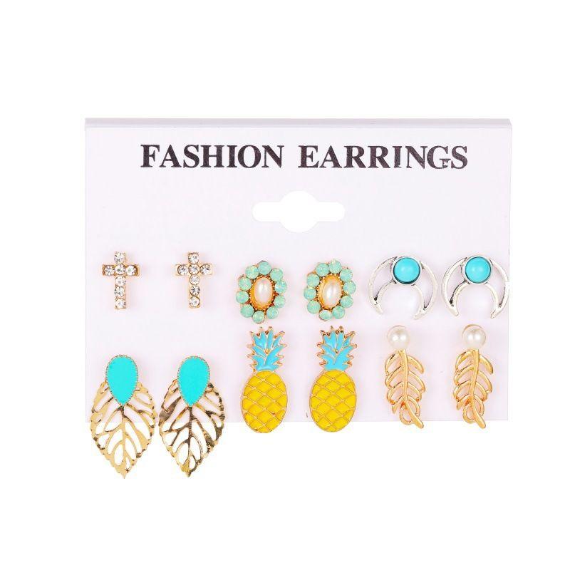 New Fashion Bohemian Retro Leaf Cross Pineapple alloy Earrings set NHMO243345