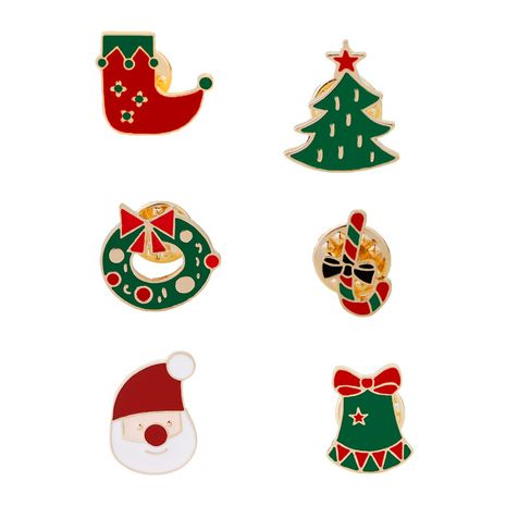 Christmas Brooch  Santa Wreath Christmas Tree Socks Brooch wholesale nihaojewelry NHMO243352's discount tags