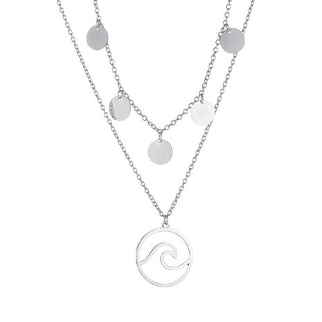 new set of chains simple disc long double sea wave pendant necklace for women NHMO243354's discount tags