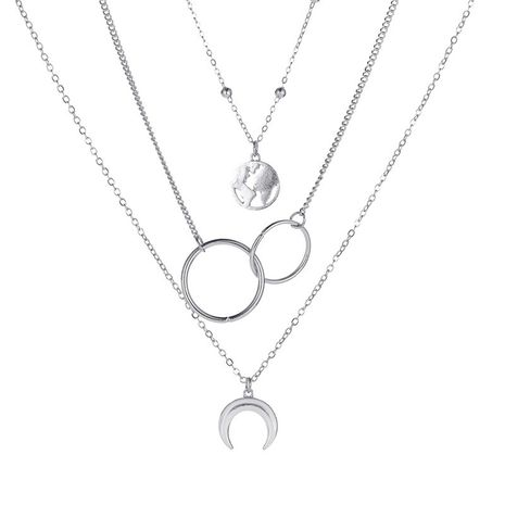 new three-layer long ring multi-layer metal map moon pendant sweater chain necklace NHMO243357's discount tags