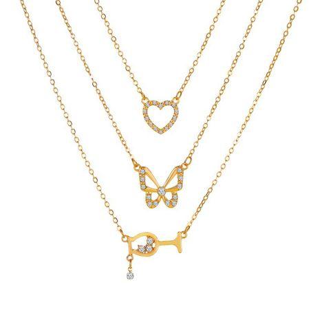 nouveau papillon verre à vin combinaison multicouche 3 couches collier pendentif en alliage pour les femmes NHMO243358's discount tags
