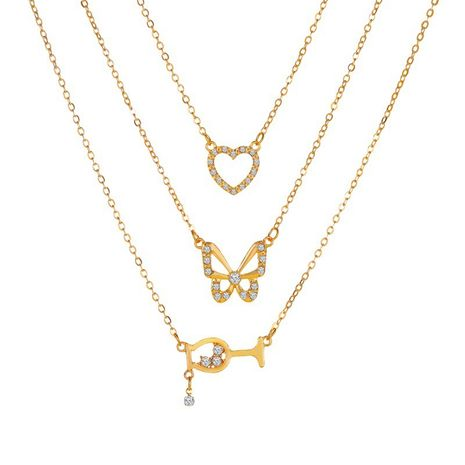 new butterfly wine glass multi-layer combination 3 layer alloy pendant necklace for women NHMO243358's discount tags