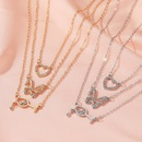 new butterfly wine glass multilayer combination 3 layer alloy pendant necklace for women NHMO243358