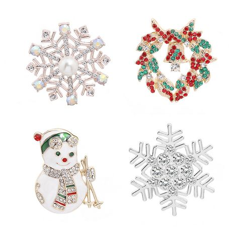 hot style Christmas series brooch fashion snowflake wreath ski snowman creative brooch wholesale nihaojewelry NHMO243364's discount tags