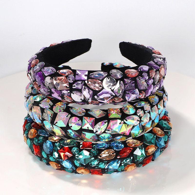 Nepalese style colored geometric irregular gems inlaid diamonds exaggerated headband wholesale NHJQ243375