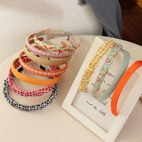 Korean retro floral plaid  wide-brimmed headband NHNU243379's discount tags