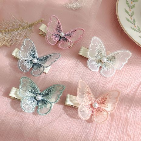 Korea embroidery butterfly fairy hairpin cute children's three-dimensional butterfly clip wholesale nihaojewelry NHNU243383's discount tags