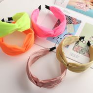retro wide-sided knotted headband solid color fabric pearly hairband NHNU243396