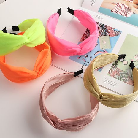 retro wide-sided knotted headband solid color fabric pearly hairband NHNU243396's discount tags
