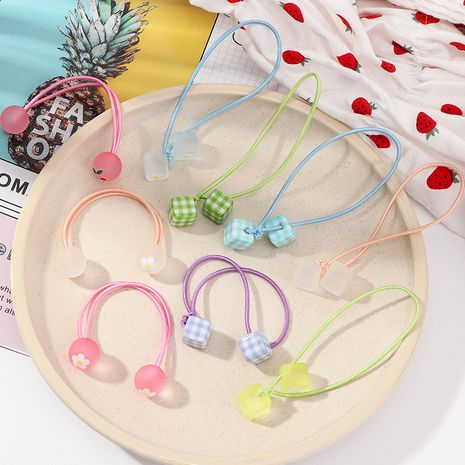 Children's sweet frosted flowers square lattice shape cherry double ball headdress wholesale nihaojewelry NHNU243405's discount tags