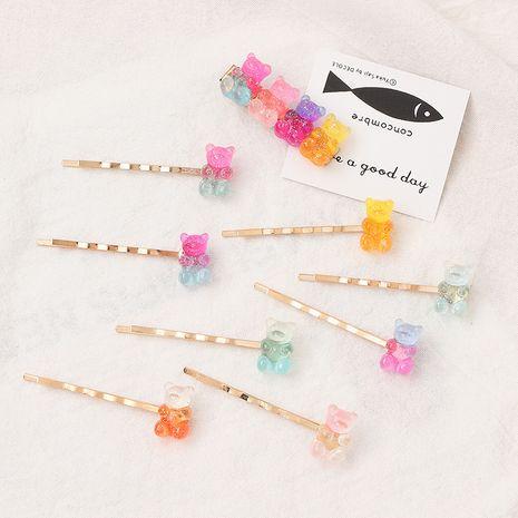 El nuevo oso colorido horquilla gomosa linda chica color caramelo clip de oreja al por mayor nihaojewelry NHNU243406's discount tags