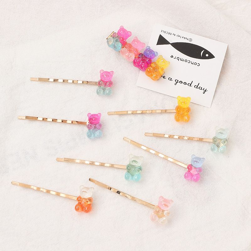 The new colorful bear gummy hairpin cute girl color candy ear clip wholesale nihaojewelry NHNU243406