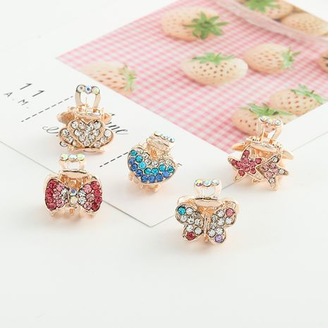 Children's color crystal rhinestone small grab clip fashion diamond hairpin wholesale nihaojewelry NHNU243420's discount tags