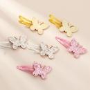 fashion  bow  edging bright pink color duckbill clip set  NHNU243428