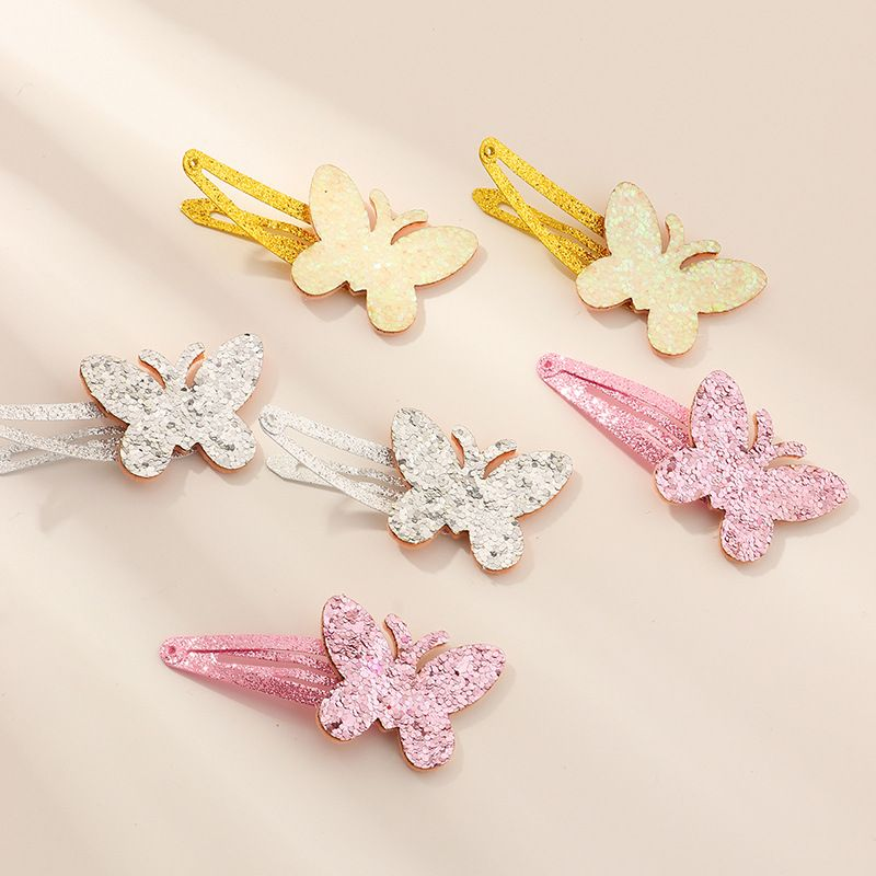 fashion  bow  edging bright pink color duckbill clip set  NHNU243428