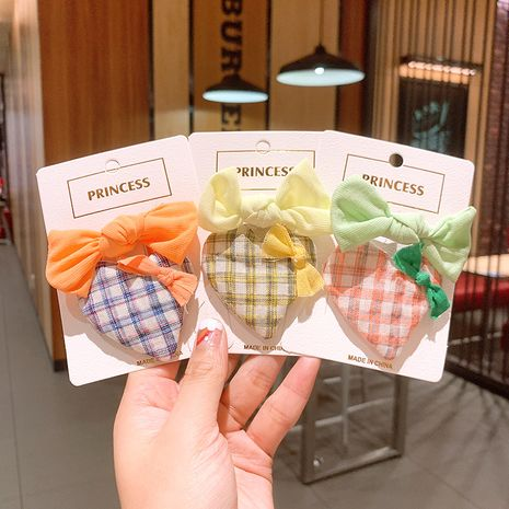 Korean love plaid girls solid color small bow children bb clip rubber band  NHSA243444's discount tags