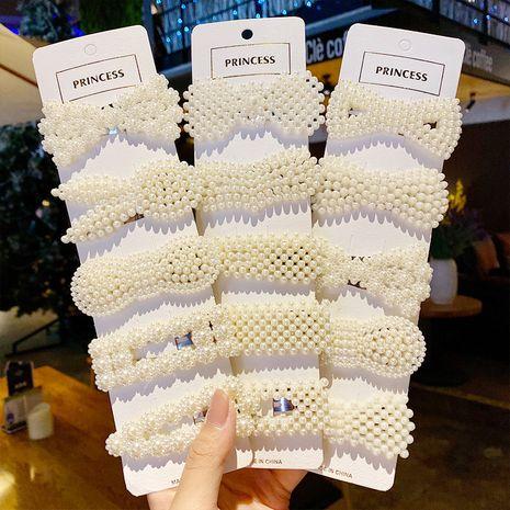 conjunto de clip simple hecho a mano de perlas coreanas al por mayor NHNA243463's discount tags