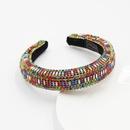 Baroque fashion diamondstudded colored diamonds pearl widebrimmed headband wholesale NHWJ243472