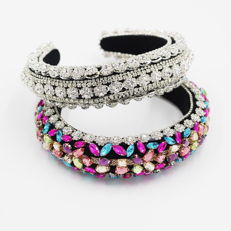 Baroque palace style full diamond gemstone retro widesided thickened exaggerated headband wholesale nihaojewelry NHWJ243478