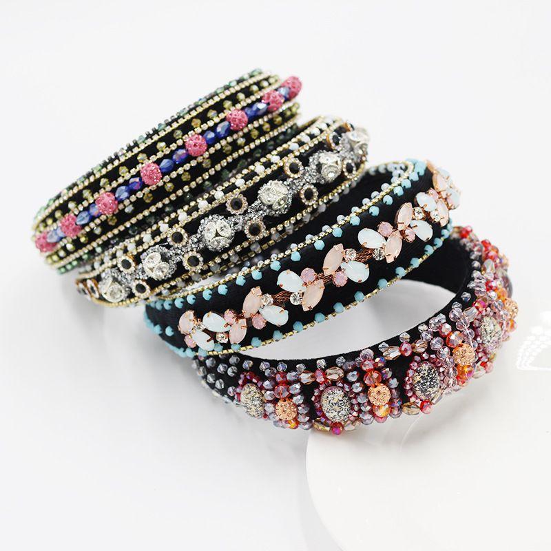 New fashion sponge rose flower inlaid rhinestone headband wholesale nihaojewelry NHWJ243479