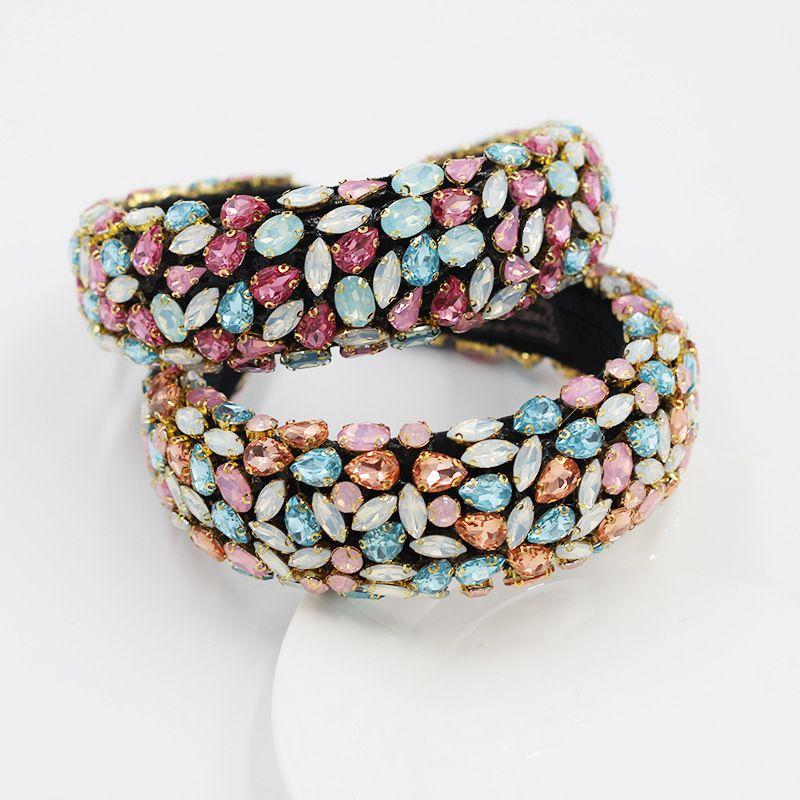 Baroque fashion full diamond exaggerated wide brim colored  headband wholesale  NHWJ243480