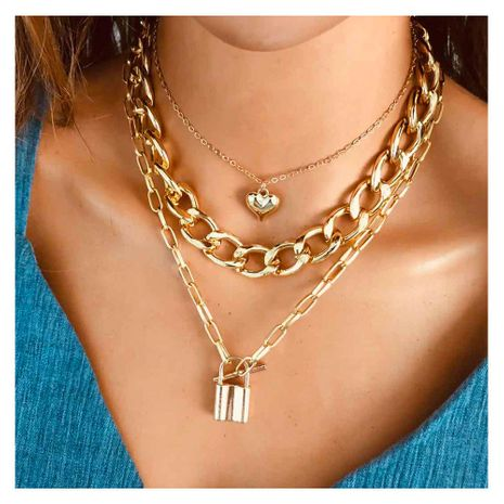 Fashion all-match multi-layer gold thick chain love lock alloy pendant necklace jewelry for women NHCT243491's discount tags