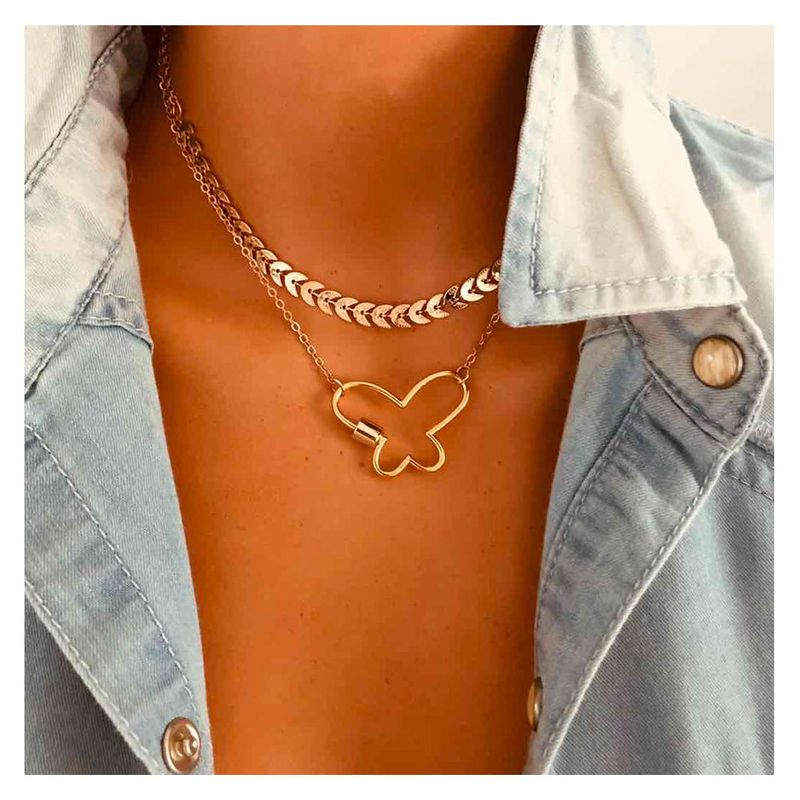 Fashion golden leaf chain butterfly link buckle twist buckle womens alloy necklace jewelry  NHCT243493