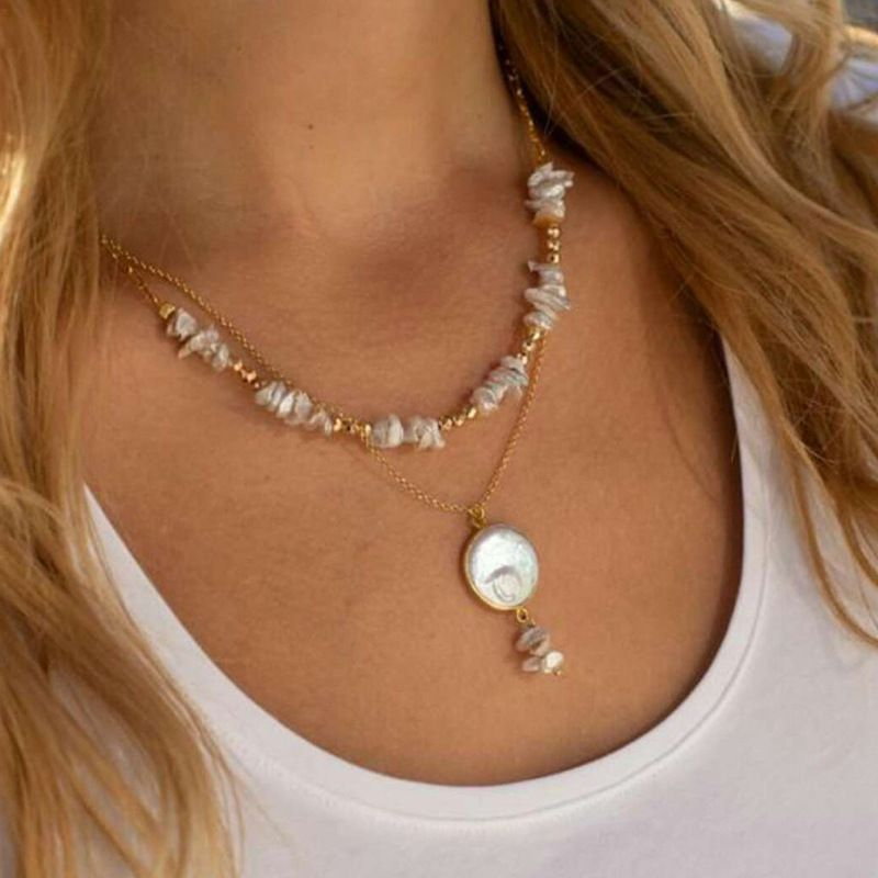 Fashion Simple Irregular Pearl Beaded All-match Necklace for women NHCT243495