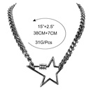 fashion diamond fivepointed star link buckle item simple clavicle chain carabiner alloy necklace  NHCT243496