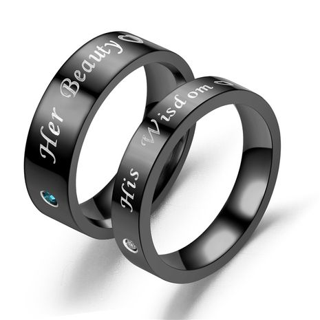 hot-selling new black diamond ring fashion couple ring wholesale nihaojewelry NHTP243498's discount tags