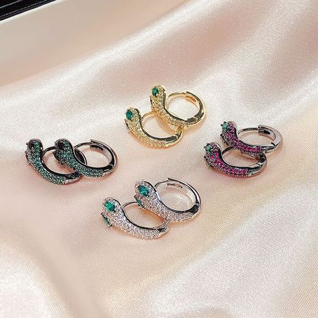 Fashion snake-shaped retro micro-inlaid zircon copper earrings for women NHCG243503's discount tags