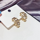 Fashion Cshaped metal chain Korean simple zircon microinlaid copper earrings for women NHCG243510