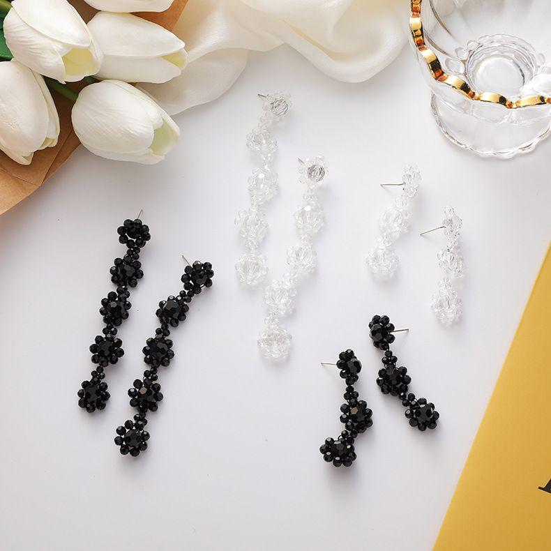 925 silver needle retro port style hand-woven crystal flower tassel dark long earrings NHMS243517