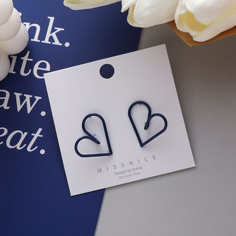 925 Silver Needle Korean Simple Design Blue Hollow Love-shaped Girls Stud Earrings NHMS243521's discount tags