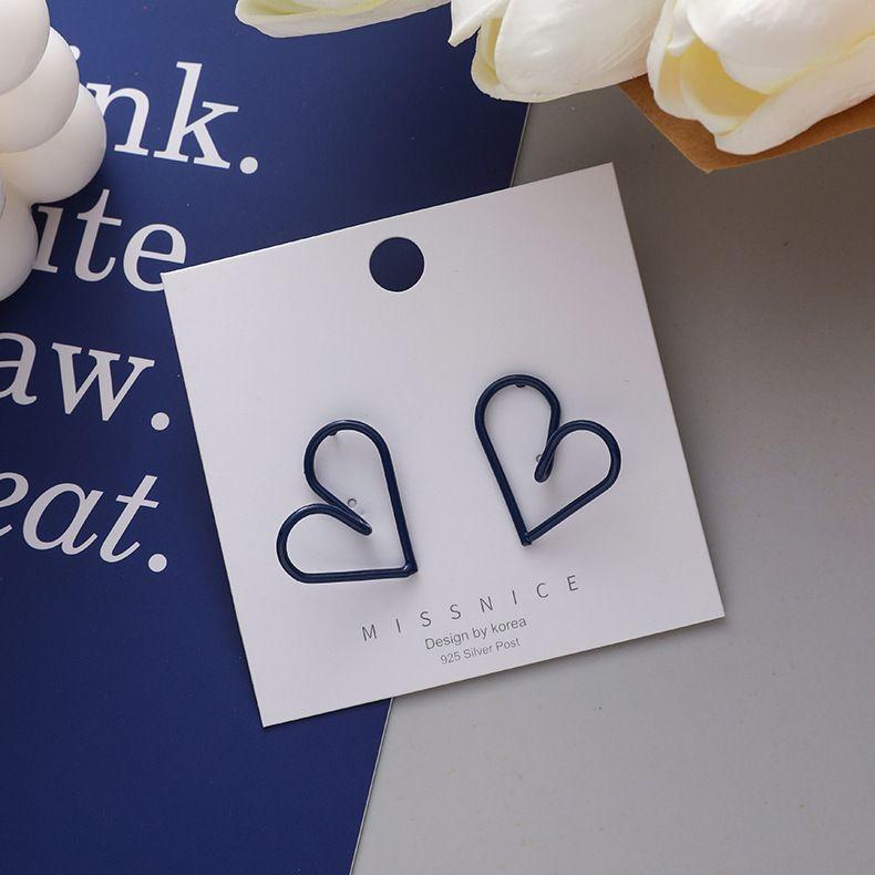 925 Silver Needle Korean Simple Design Blue Hollow Love-shaped Girls Stud Earrings NHMS243521