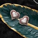 Fashion amethyst love pearl Korean 925 silver needle earrings for women NHMS243529