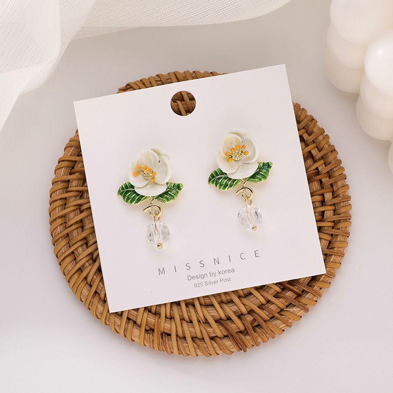 Simple 925 silver needle resin drip glaze white flower crystal fairy daisy alloy earrings for women NHMS243532