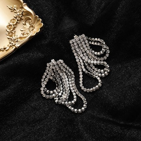 925 Silver Needle Fashion Diamond Chain Rear Hanging Tassel Two Wearing alloy Earrings for Women NHMS243552's discount tags