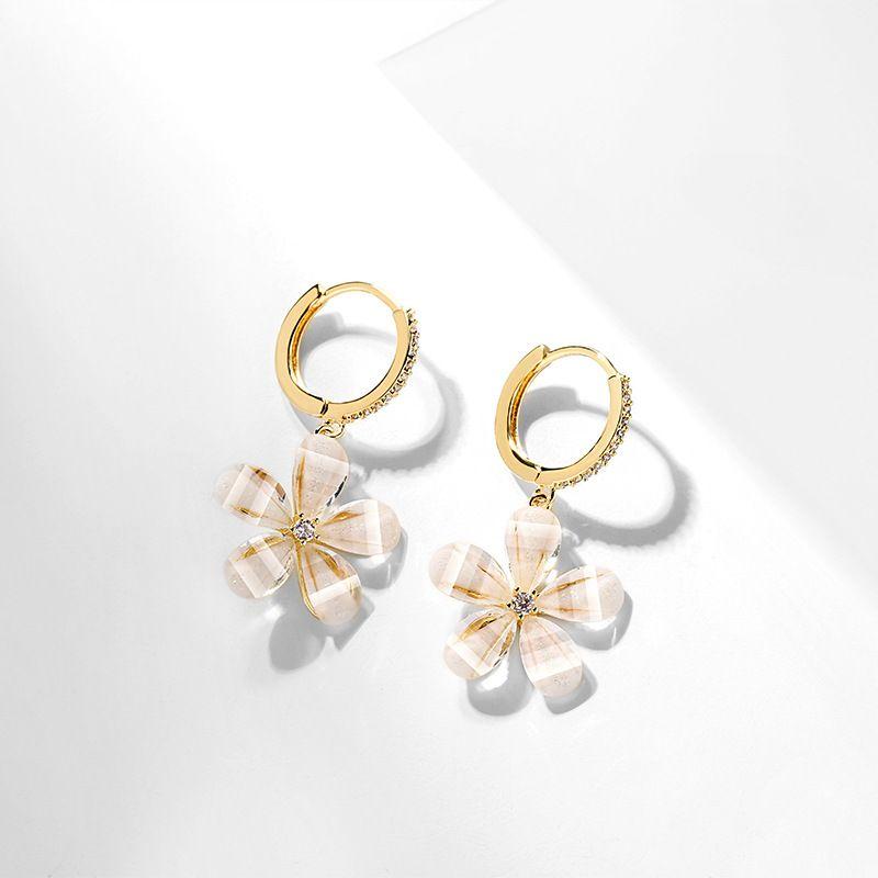 elegant sweet simple flower earrings new fairy ear buckle wholesale nihaojewelry NHPP243571