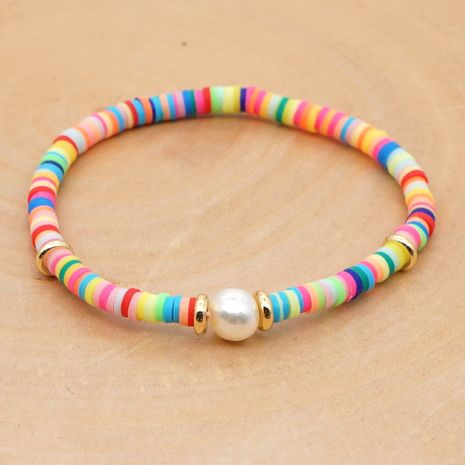 summer natural baroque pearl woven colored clay bracelet for women NHGW243577's discount tags