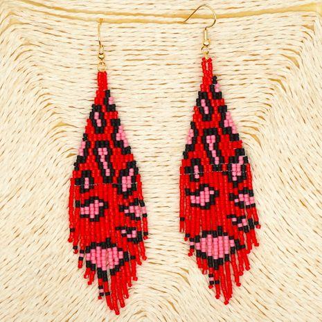 hot fashion rice beads woven leopard fringe earrings wholesale nihaojewelry NHGW243579's discount tags