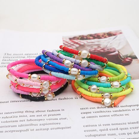 fashion bohemian beach style natural baroque pearl color soft ceramic letter bracelet for women NHGW243582's discount tags