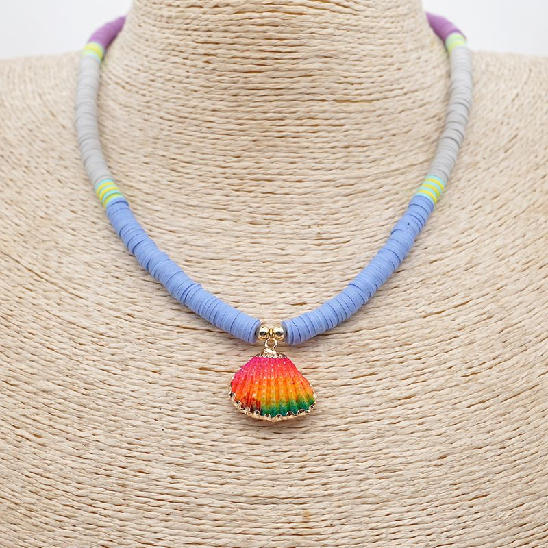 Fashion Rainbow Natural Shell Soft Ceramic Bohemian Beach Style Clavicle Chain for women NHGW243584